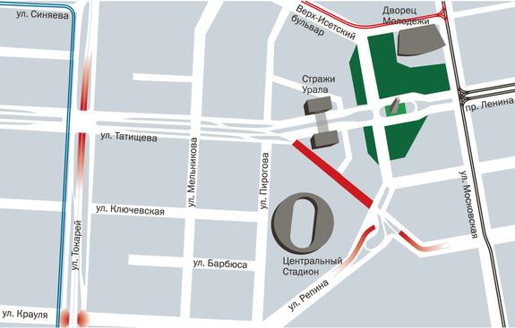 Прорабатываемый проект комплексной транспортной схемы в районе Центрального стадиона.
