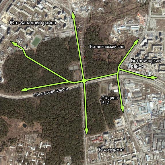 Московская-Объездная.  Схема велопешеходных маршрутов.