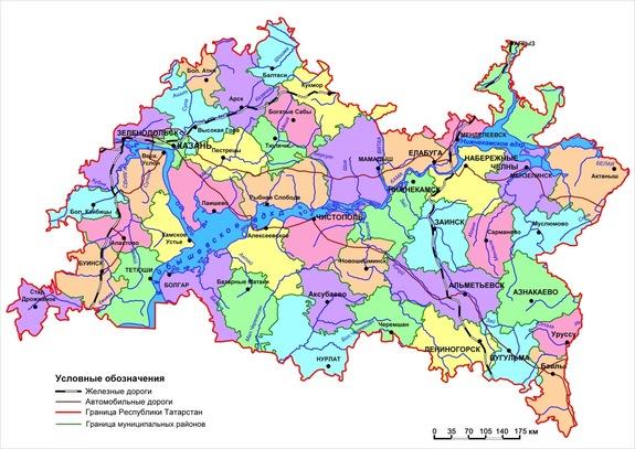 Карта Республики Татарстан