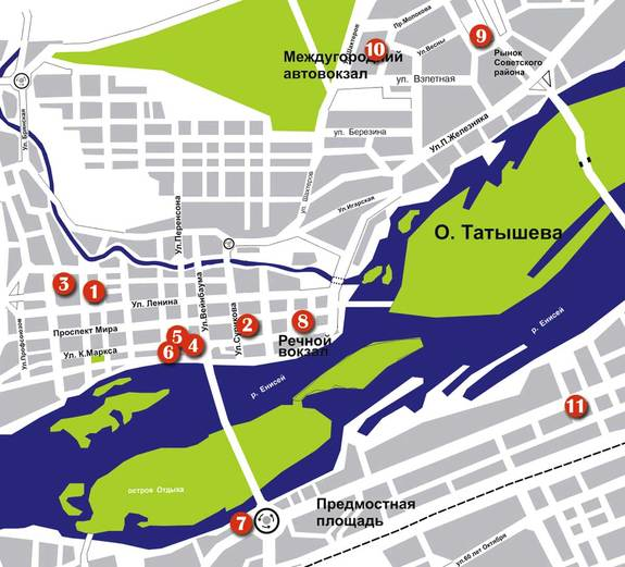 Найти номера: карта гостиниц Красноярска для бизнеса 7