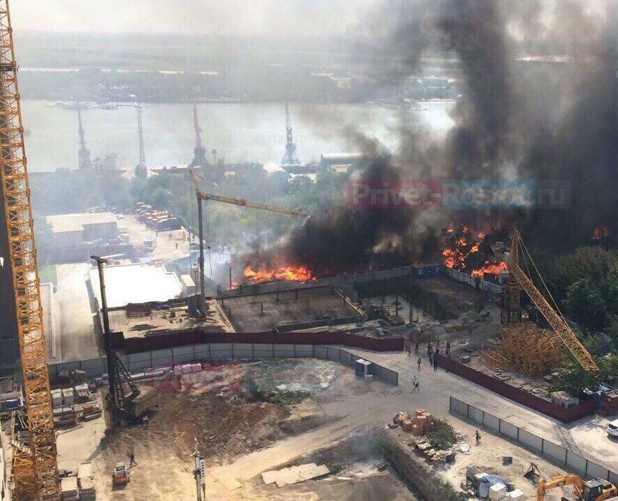 Донской губернатор прибыл на крупный пожар в районе Театральной площади Ростова LIVE 6