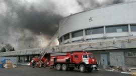 Часть Красноярска утром окутало плотным дымом: горел дворец спорта им.Ярыгина 1