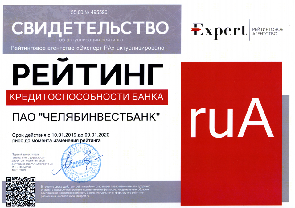 «Эксперт РА» подтвердил рейтинг Челябинвестбанку на уровне ruА 1