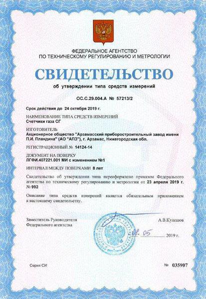 АПЗ получил свидетельство об утверждении типа средств измерений на счетчик газа 1