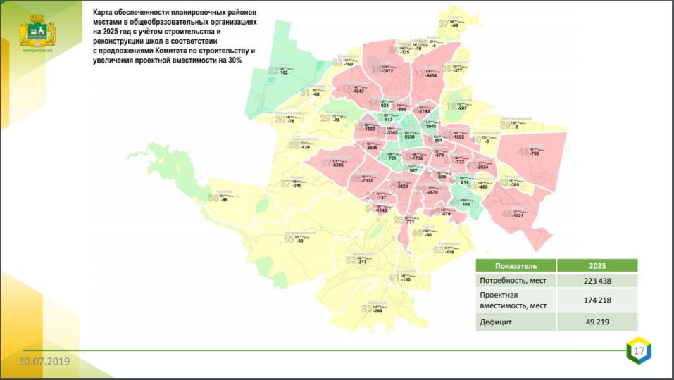 Карта обеспеченности школьными местами до 2025 г.
