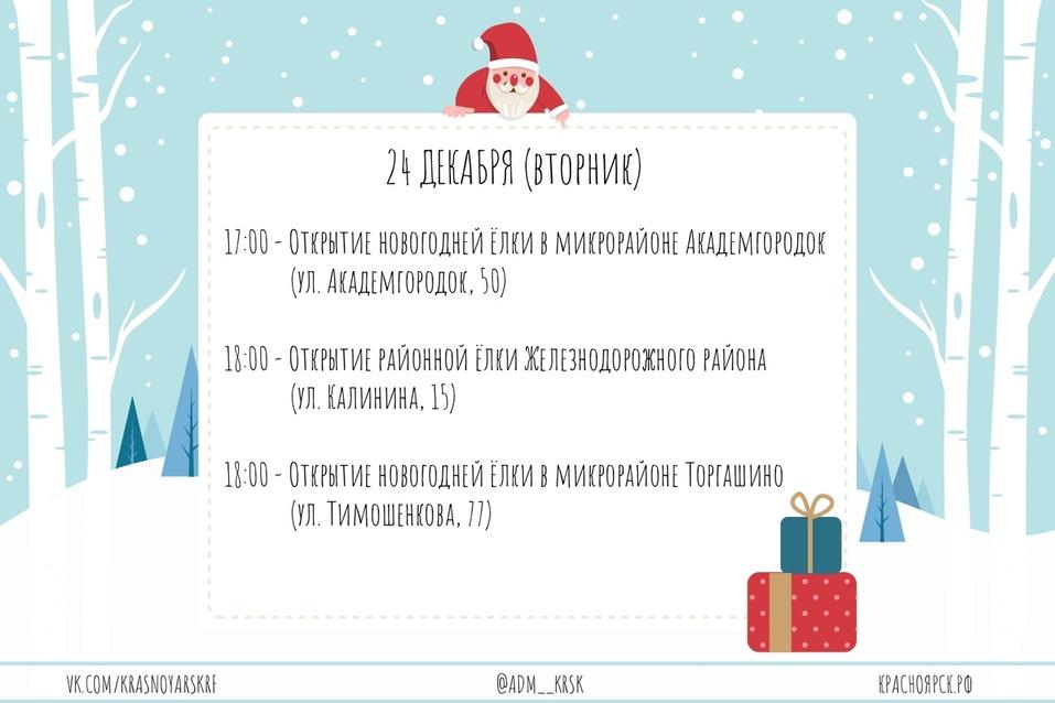 Администрация Красноярска опубликовала даты открытия новогодних ёлок (СПИСОК) 7