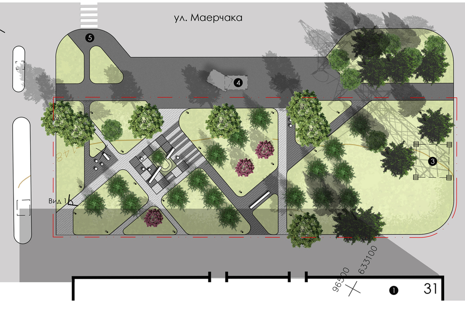 Царство геопластики: в Красноярске благоустроят два сквера на Маерчака  1