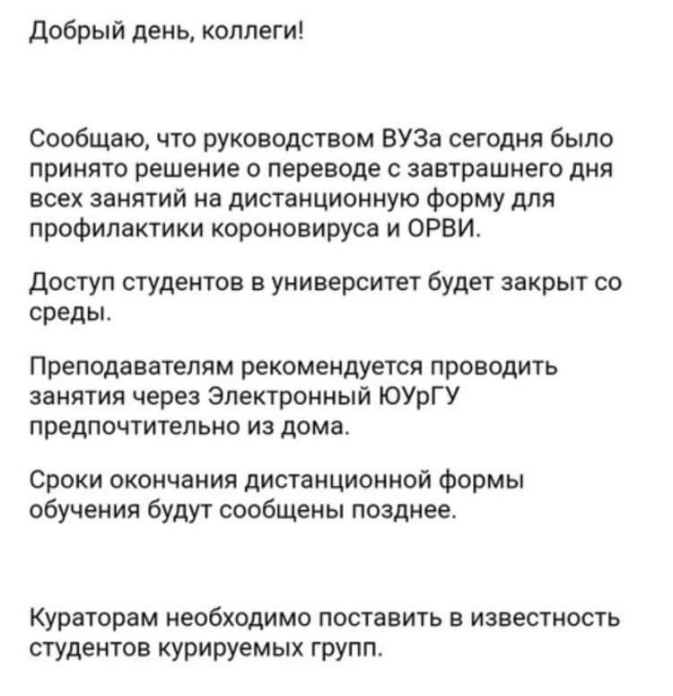 «Доступ в университет будет закрыт»: ЮУрГУ и ЧелГУ переходят на дистанционное обучение 1
