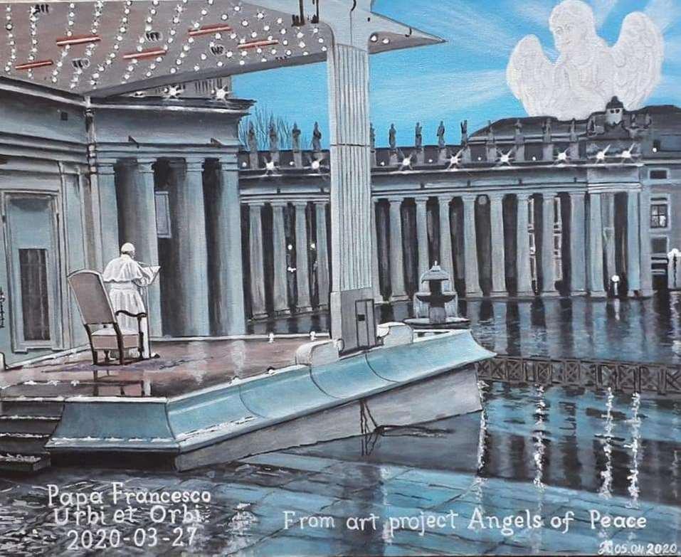 Красноярские «Ангелы Мира» написали картину для папы Римского 1