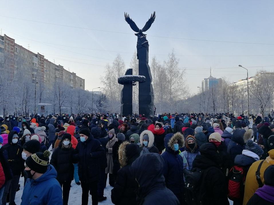 Ледяной марш: как в Челябинске проходила уличная акция в поддержку Навального 2
