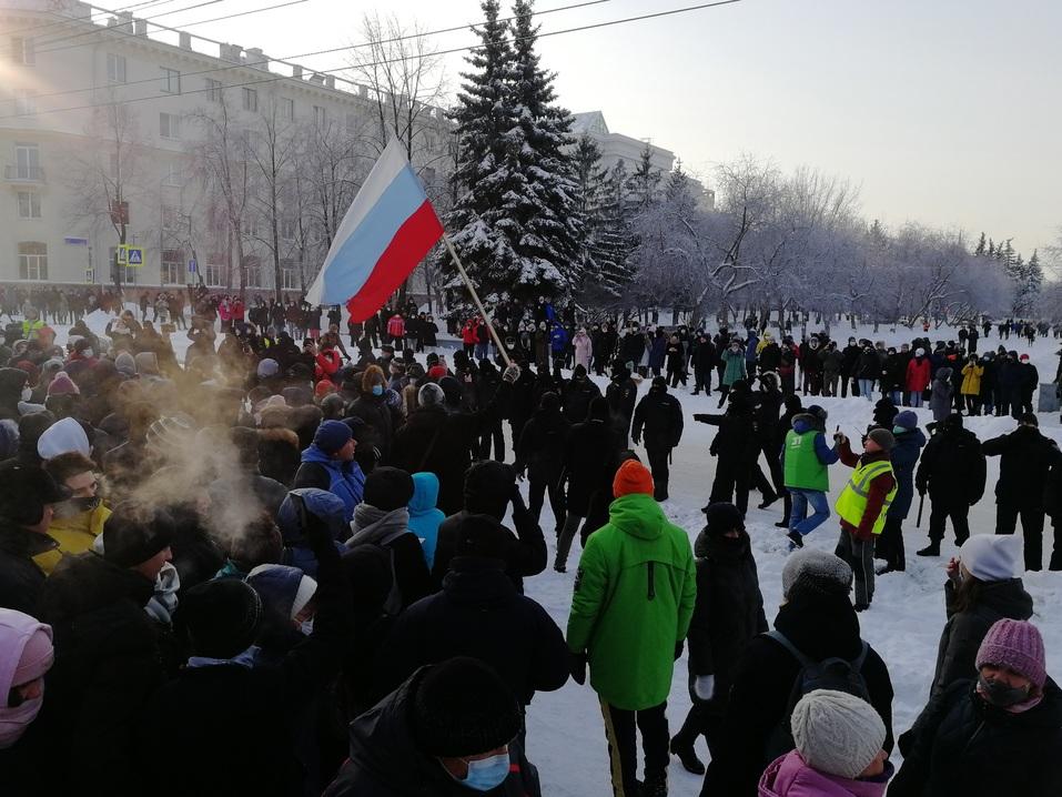 Ледяной марш: как в Челябинске проходила уличная акция в поддержку Навального 3