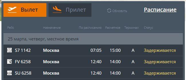 В Челябинском аэропорту за одно утро задержали два авиарейса московского направления 1