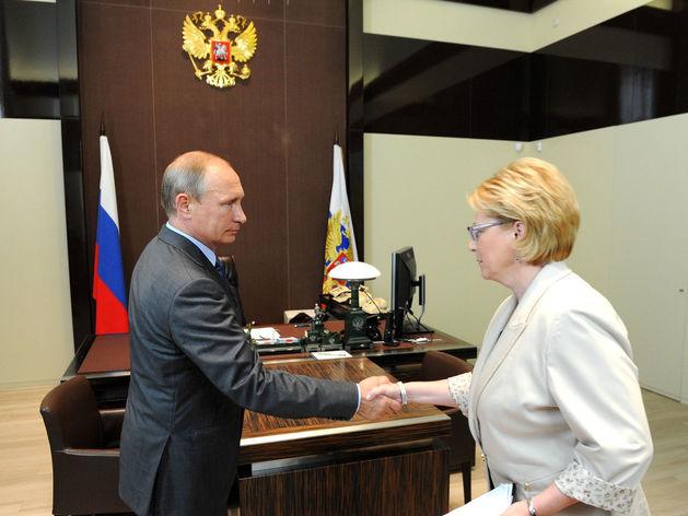 Владимир Путин на рабочей встрече с Министром здравоохранения Вероникой Скворцовой