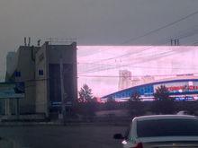 В Челябинске снова заработал огромный медиафасад - на новом месте