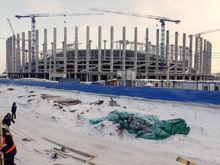 """Над зоной фойе стадиона """"Нижний Новгород"""" начали монтировать крышу"""