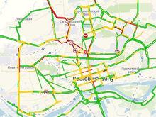 Сильный снегопад затруднил движение транспорта в Ростовской области