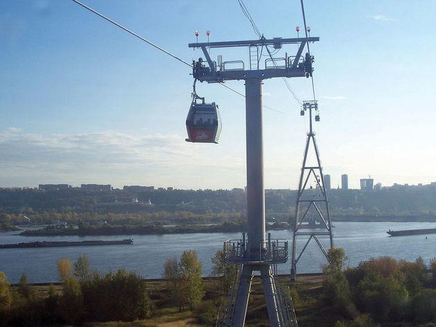 Канатная дорога через Волгу соединяет Нижний Новгород и город Бор