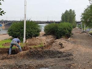 В Красноярске началось благоустройство правобережной набережной