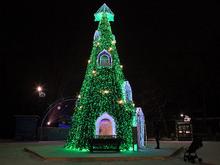В Красноярске началась установка семи новогодних ёлок