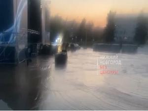 Фан-зону к 800-летию затопило на площади Советской в Нижнем Новгороде